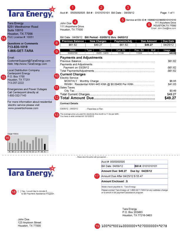 Tara Energy Sample Bill